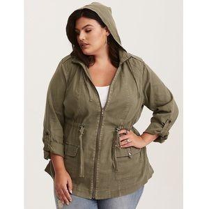Torrid Olive Utility Zip Up Long Sleeve Jacket 2